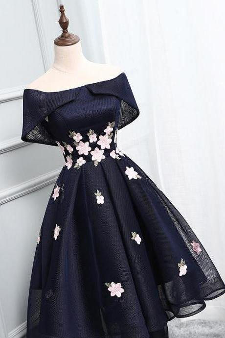 Navy Off-The-Shoulder High Low Ruffled Homecoming Dress Featuring Floral Embroidered Patches and Lace-Up Back