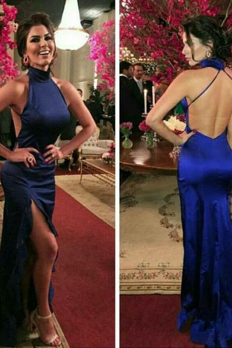 royal blue mermaid prom dresses,backless prom dress,sexy long evening gowns,mermaid prom dresses