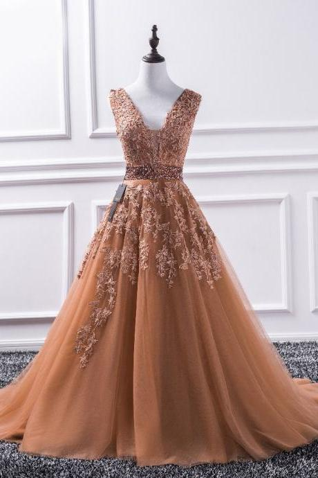 Sexy V Neck Lace Long Prom Dresses,New Tulle Beaded Appliques Prom Dress, Princess Ball Gown Vintage Evening Dress Vestido De Festa