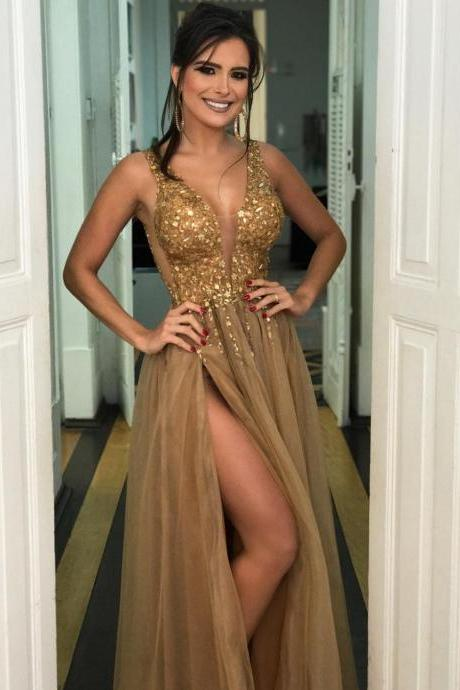 Gold Crystals Prom Dresses,Sexy Split Tulle Evening Formal Dresses Long Prom Dress