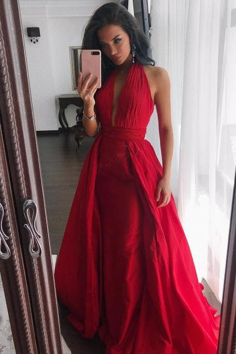 Hot Ruched Halter Red Prom Dresses,Satin Evening Dresses Long Prom Gowns Prom Dress