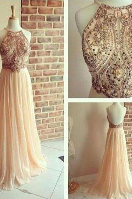 a line chiffon prom dresses, backless beading prom dress, sequin long prom dresses