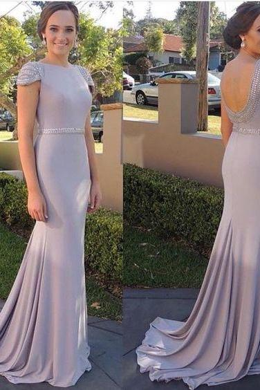 Sexy Open Back Formal Dresses,Celebrity Dresses,Cap Sleeves Formal Dress,Sexy Mermaid Evening Dress,Cap Sleeves Bridesmaids Dresses