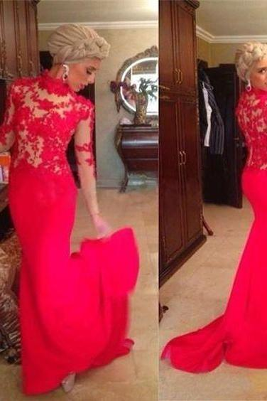 High Neck Red Lace Prom Dresses,Long Sleeves Sweep Train Prom Dress,Pageant Dresses for Women Party Evening Gowns