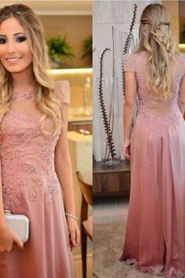 Charming Pink Chiffon Prom Dress, Applique Evening Dress, Sexy Backless Prom Dresses