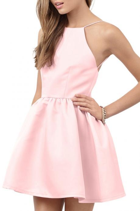 Pink Spaghetti Strap Open Back Flare Dress