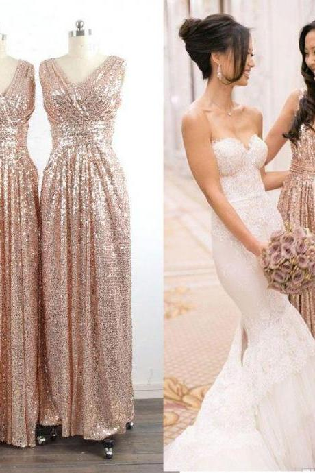 High Fashion V Neck Bridesmaid Dresses,Sleeveless Pleat A Line Floor Length Long Gold Bridesmaid Dress, Sequins Dress For Wedding Party Dress