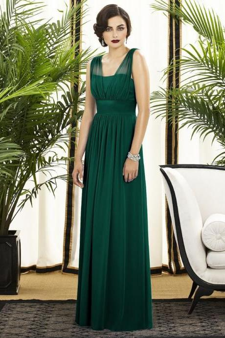 Customisable Emerald Green A-Line Chiffon Floor Length Bridesmaid Dresses