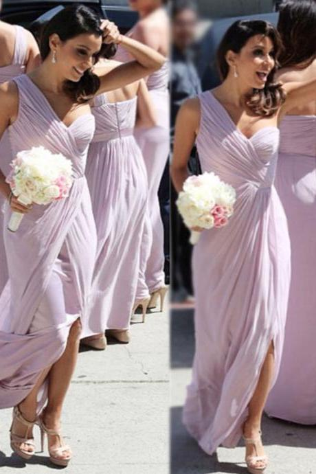 Customisable Light Purple Chiffon One- Shoulder Floor Length Bridesmaid Dress