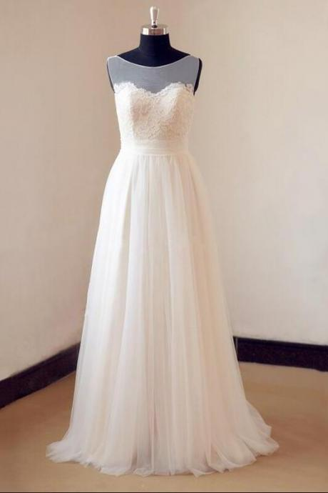 Sleeveless Bateau A-line Wedding Dress with Lace Appliqués and Bow Accent