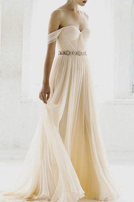 Off-the-Shoulder Ruched Beaded Chiffon A-line Wedding Dress
