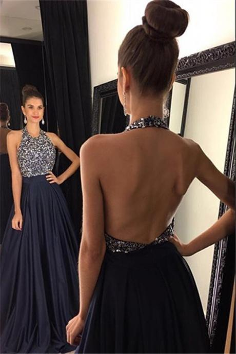 Beaded Embellished Halter Strap Floor Length A-Line Formal Dress Featuring Open Back, Prom Dress