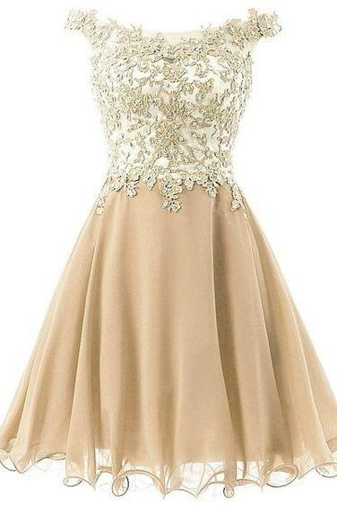 Straps Lace Homecoming Dress, Bodice Short Prom Gown , Gold Tulle Party Dress