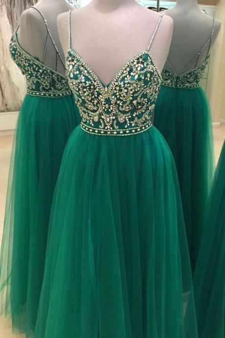 Green Strappy Deep V-Neck Bejeweled Bodice Tulle Prom Dress, Evening Dress, Formal Dress