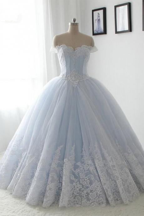 Light blue organza wedding dress,lace sweetheart A-line wedding dresses,long dress,princess ball gown bridal dress
