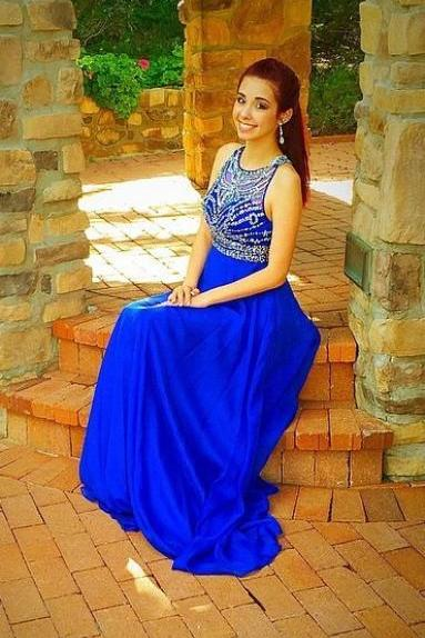 Royal Blue Illusion Neckline A-Line Chiffon Prom Dress, Formal Dress, Evening Dress