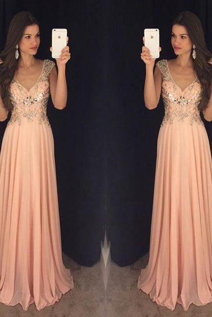 Pink Queen Anne Neckline A-Line Chiffon Evening Dress, Prom Dress, Formal Dress