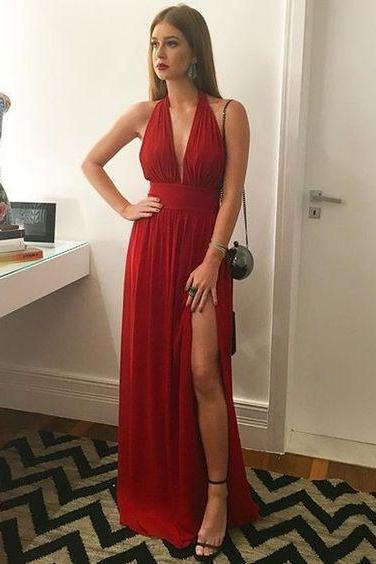 Red Plunging V-Neck Long Chiffon Empire Prom Dress, Evening Dress, Formal Dress