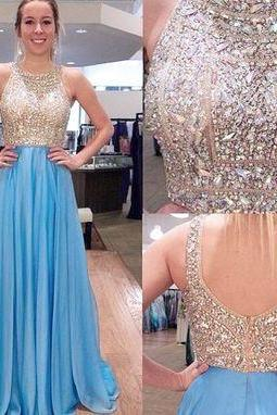 Sparkly Champagne Bodice Halter Neck with Blue Chiffon A-Line Skirt Prom Dress, Evening Dress, Formal Dress