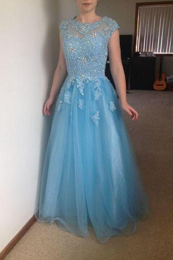 Light Blue Illusion Neckline Lace Applique A-Line Tulle Prom Dress