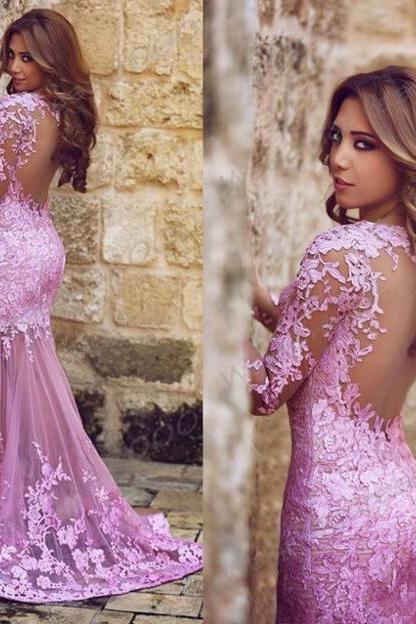 Gorgeous Long Sleeves Mermaid Long Prom Dress with Lace