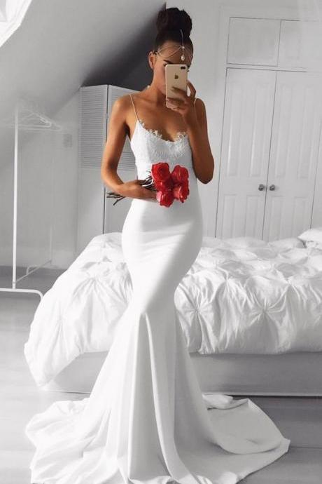 White Prom Dresses,Lace Prom Dress,White Prom Gown,Prom Gowns,Elegant Evening Dress,Modest Evening Gowns,Sexy Party Gowns