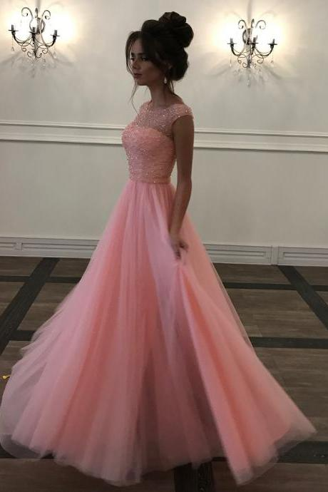 Long Beaded Prom Dress, Sleeveless Illusion Prom Dress, Elegant Tulle Evening Dress