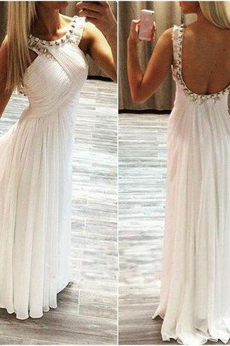 White prom dress,chiffion prom dress,backless prom dress,beautiful beading prom dress,a-line princess prom dress,high quality custom prom dress,elegant wowen dress,party dress,evening dress,dress for teens
