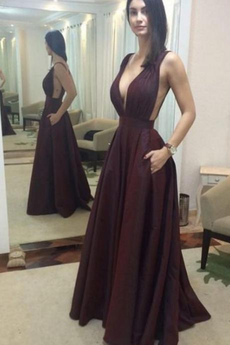 Sleeveless Long Prom Dress, Sexy Deep V Neck Evening Dress
