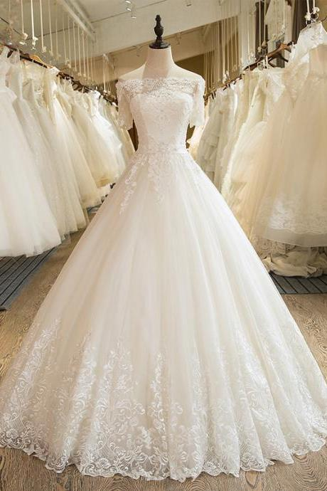 A-Line Lace Wedding Dress, Tulle Wedding Dresses, Bridal Dress,Custom Made Wedding Dress, Bridal Dress