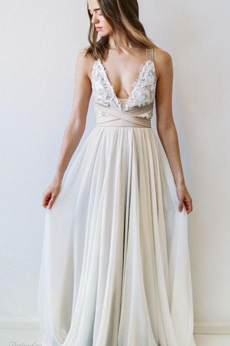 Boho A-line Scoop Neck Wedding Dress,Floor-length Wedding Dresses,Chiffon Wedding Dress With Open Back