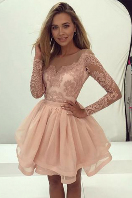 blush pink homecoming dresses,long sleeves A-line short homecoming prom dress