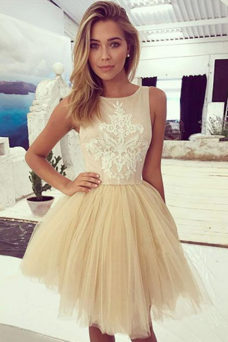 Champagne Lace Tulle Short Prom Dress, Champagne Homecoming Dress