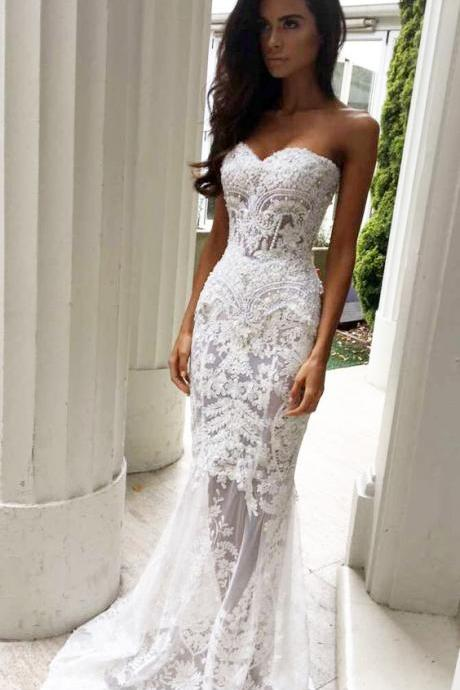 Charming Sheath Sweetheart Wedding Dresses with Appliques, Lace Wedding Dresses,Strapless Wedding Dresses,Long Wedding Dresses