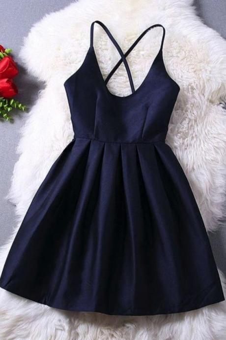 Navy Short Dress with Criss-cross Straps