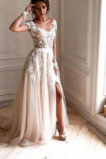 Sheer Long Sleeves Prom Dress with Slit,Tulle Wedding Dress,Long Bridal Dresses