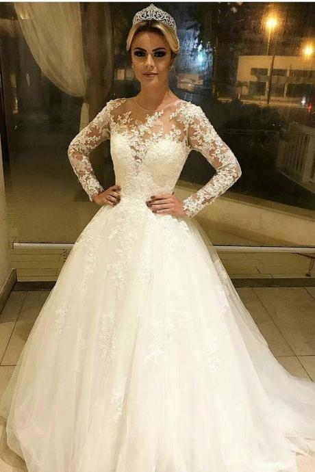 Ivory Long Sleeves Wedding Dress,Lace Bridal Dresses,Long Evening dresses