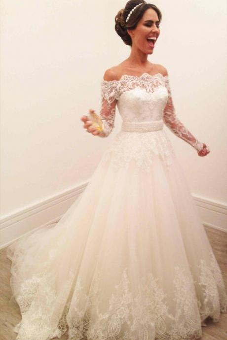 Off the Shoulder Wedding Dresses,Long Sleeves Wedding Dress with Belt, A-line Long Wedding Dress,Long Bridal dresses