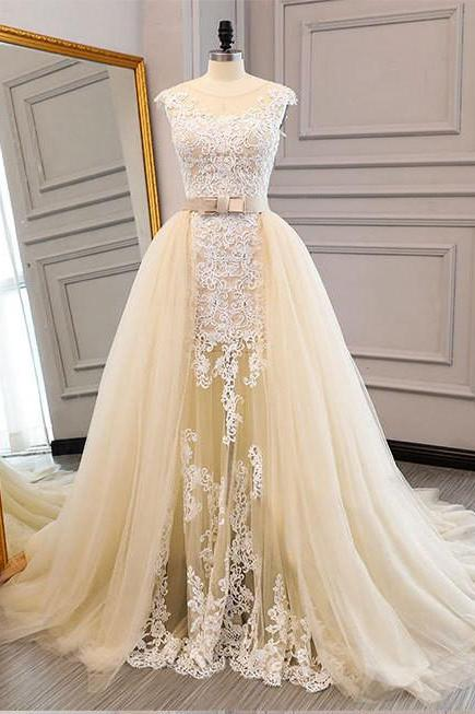 Champagne Wedding Dress,with Removable Skirt Wedding Dresses,A-line Long Bridal Dresses,Long Evening dresses