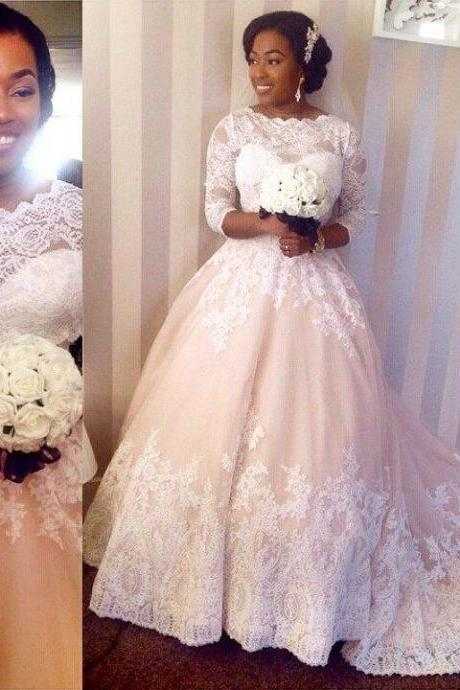 Long Sleeves Wedding Dress,Sheer Neck Wedding Dresses,Ball Gown Bridal Dress