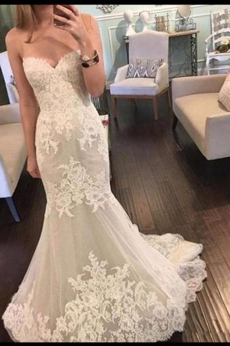 Sleeveless Mermaid Wedding Dresses,Lace Wedding Dress with Sequins