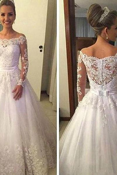 A-line Long Sleeves Wedding Dress,Long Bridal dresses