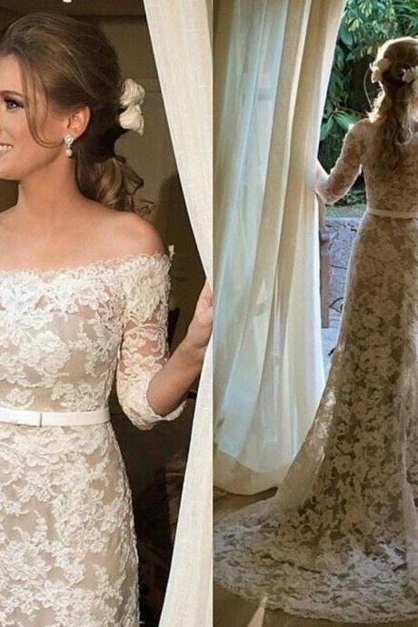 Half Sleeves Champagne Wedding Dresses,Ivory Lace Wedding Dress