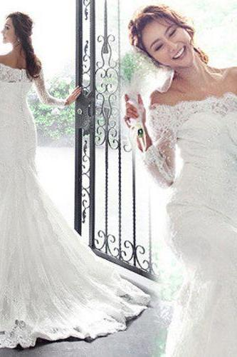 Lace Mermaid Wedding Dress,with Long Sleeves Bridal Dress
