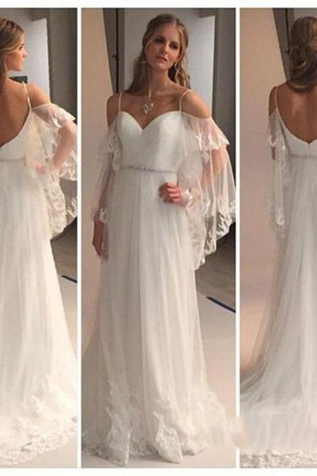 Cold Shoulders Hippie Wedding Dress,Lace Bridal Dresses,Long Wedding Dresses