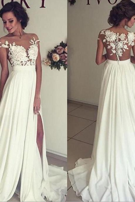 Cap Sleeves Country Beach Wedding Dress with Slit