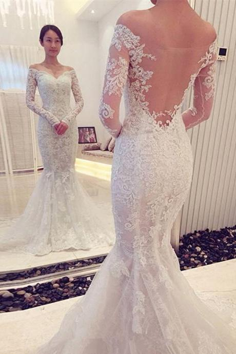 Long Sleeves Wedding Dresses,Mermaid Lace Wedding Dress, with Sheer Back Bridal Dresses