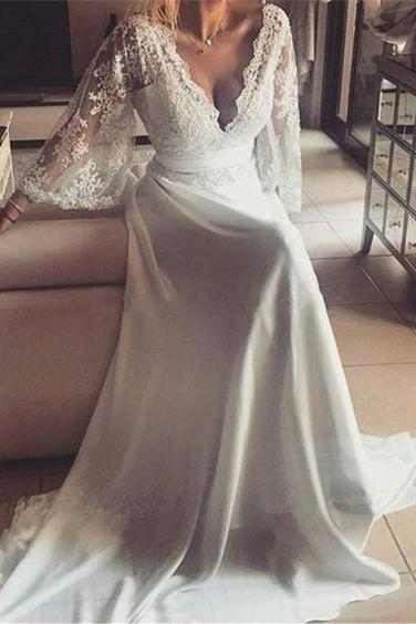 Bell Sleeves Spring Counry Boho Hippie Wedding Dress with Removable Sash,Long Wedding Dress