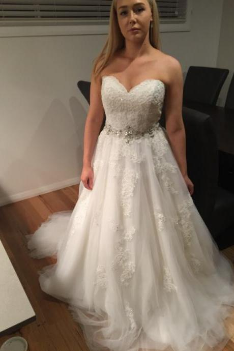 Sleeveless Lace Wedding Dress,A-line Long Wedding Dresses,Long Bridal dresses