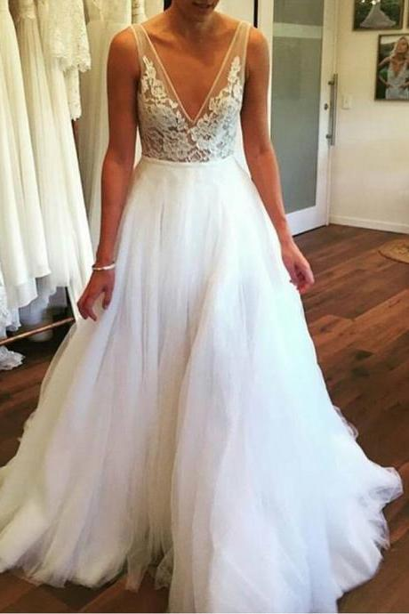 V Neck Spring Wedding Dress with V Back,Wedding Dresses,Long Bridal dresses